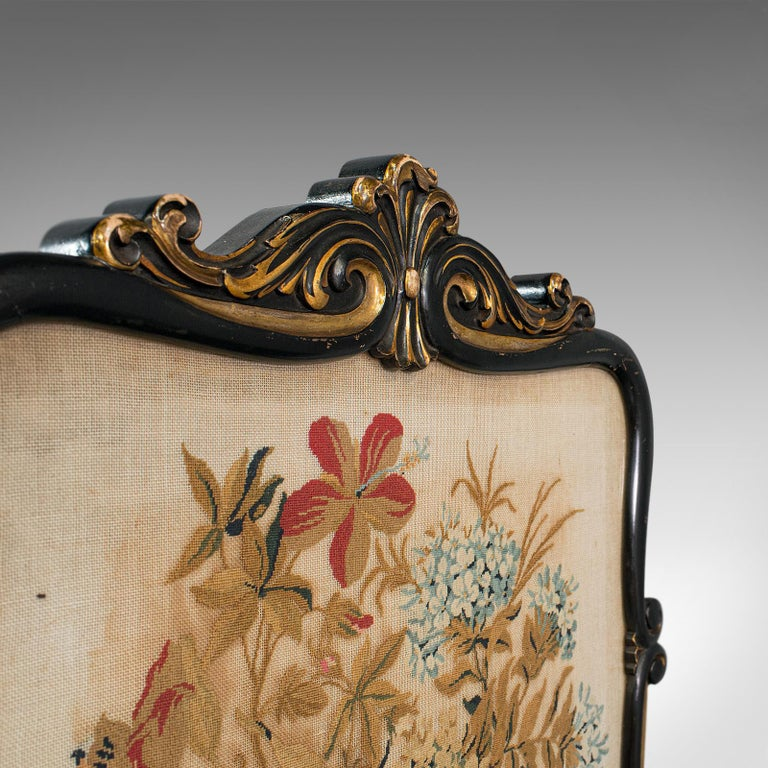 Antique Fireside Screen, English, Panel, Needlepoint, Tapestry, Regency For Sale 1