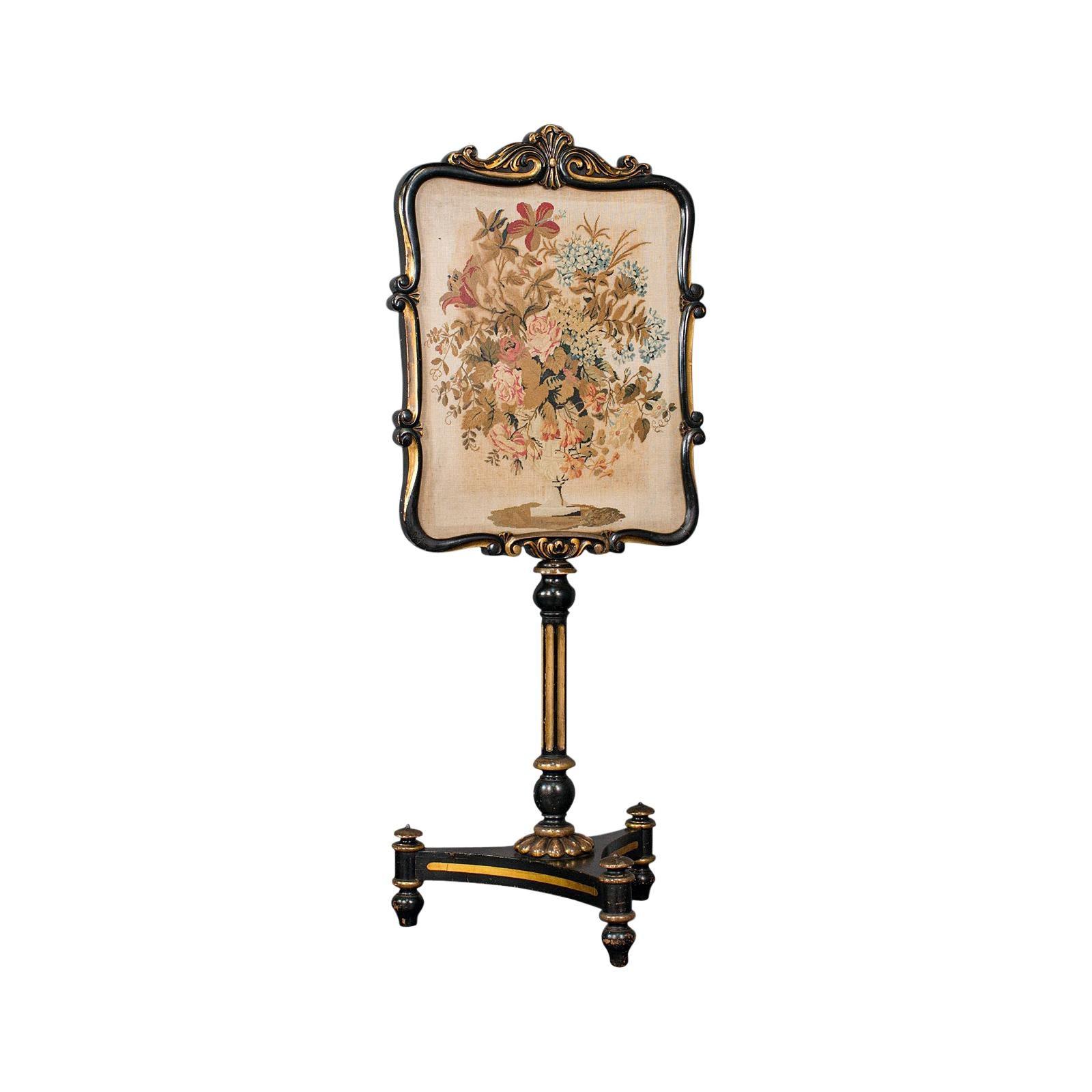 Antique Fireside Screen, English, Panel, Needlepoint, Tapestry, Regency