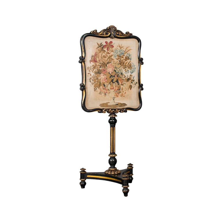 Antique Fireside Screen, English, Panel, Needlepoint, Tapestry, Regency For Sale