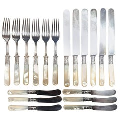 Antique Fish Flatware Set, Sterling Silver with Mother-of-pearl, Set of 18