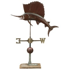 Antique Fishing Weather Vane with Copper Sailfish