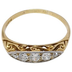 Antique Five-Stone Diamond 18 Karat Gold Ring
