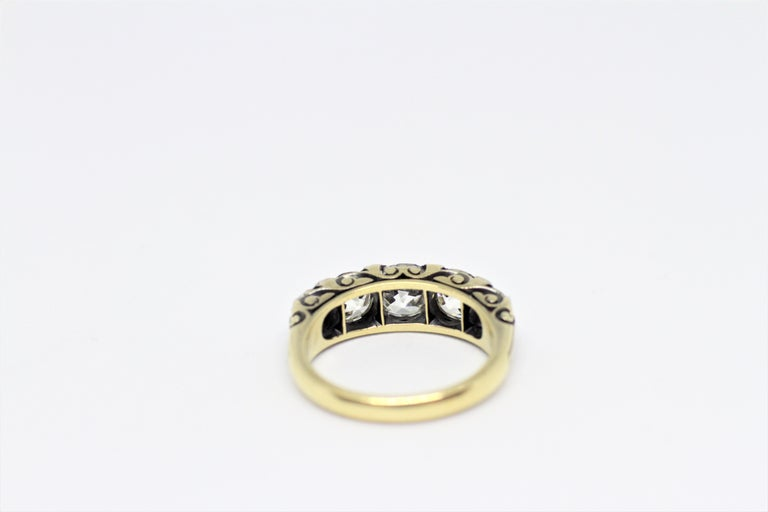 Edwardian Antique Five-Stone Hand Carved Ring, circa 1910 For Sale