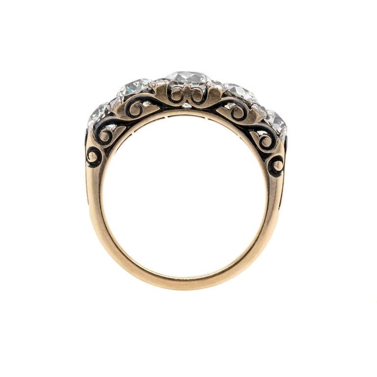 Antique Five-Stone Hand Carved Ring, circa 1910 In Good Condition For Sale In London, GB