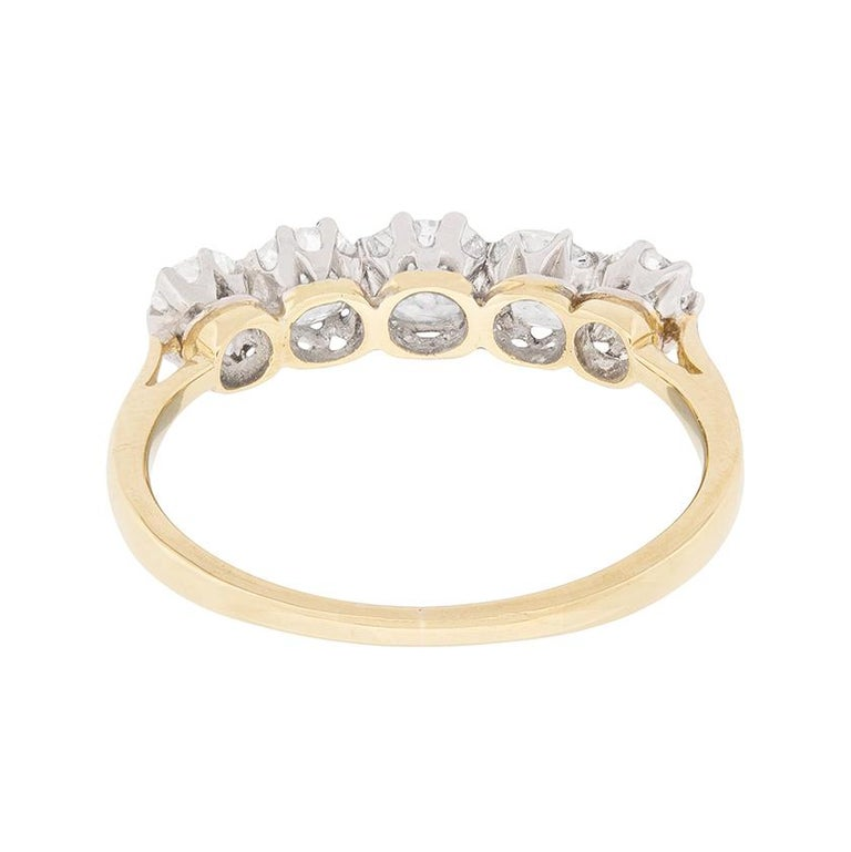 Antique Five-Stone Old Cut Diamond Ring, circa 1900s In Excellent Condition For Sale In London, GB