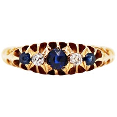 Antique Five-Stone Sapphire and Old Cut Diamond Yellow Gold Ring, 1906