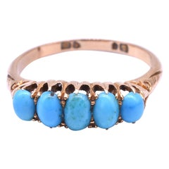 Antique 15K yellow gold Five-Stone Turquoise Ring hallmarked 1907