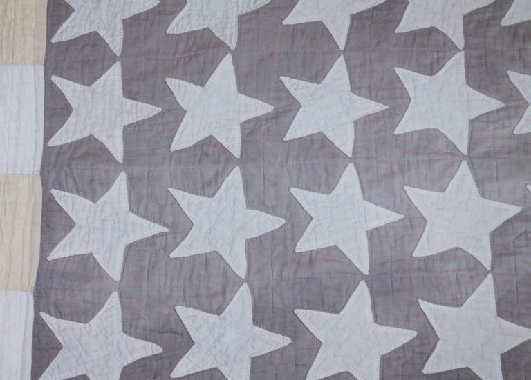 Adirondack Antique Flag Quilt from 1915 Hand Sewn Stars For Sale