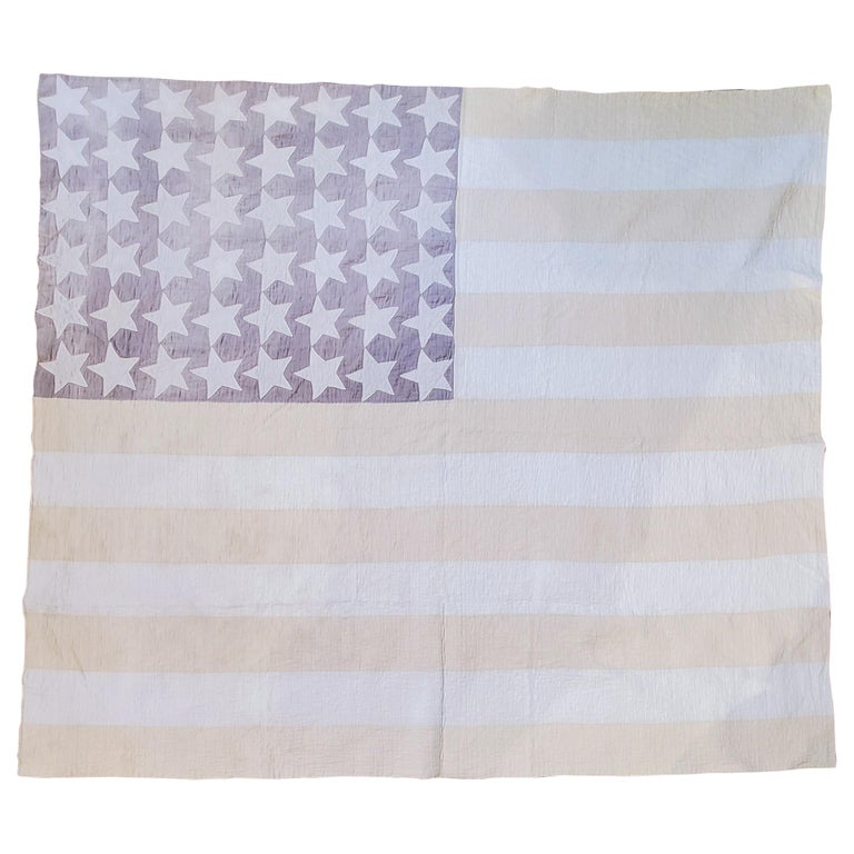 Antique Flag Quilt from 1915 Hand Sewn Stars For Sale