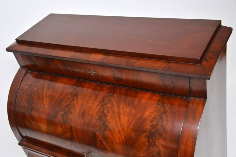Antique Flame Mahogany Cylinder Top Bureau For Sale 4