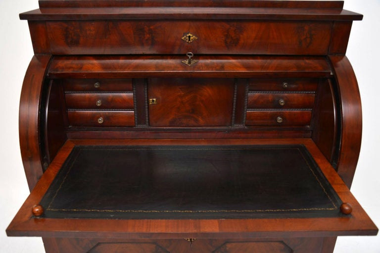 Mid-19th Century Antique Flame Mahogany Cylinder Top Bureau For Sale