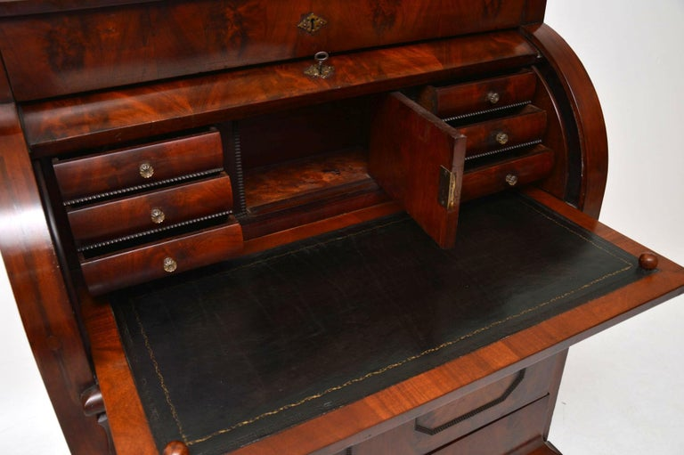 Antique Flame Mahogany Cylinder Top Bureau For Sale 1