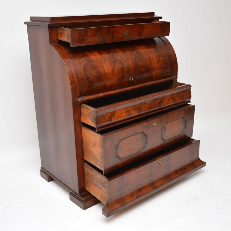 Antique Flame Mahogany Cylinder Top Bureau For Sale 2