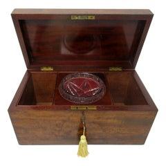Antique Flame Mahogany English Double Tea Caddy Box Regency Gillows Lancaster