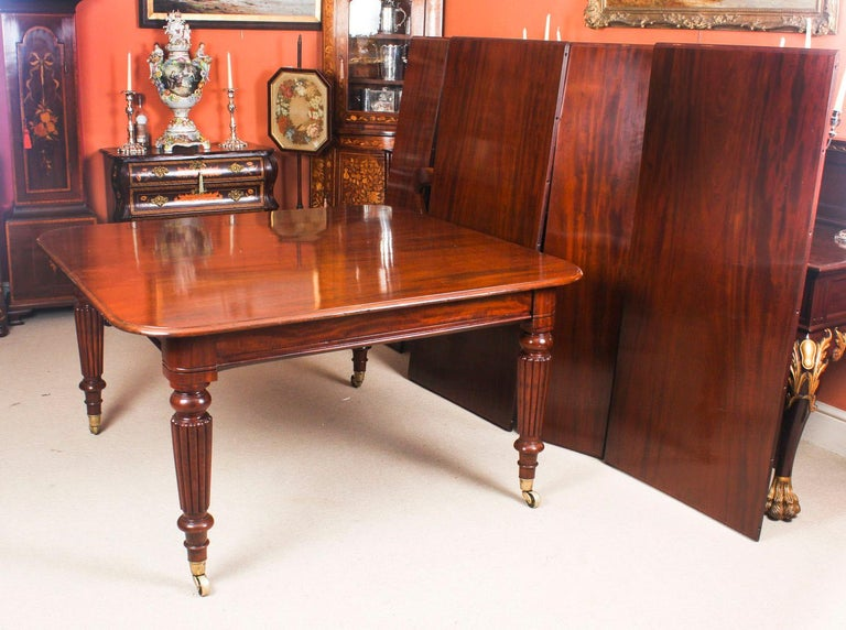 Antique Flame Mahogany Extending Dining Table 19th Century and 10 Chairs For Sale 4