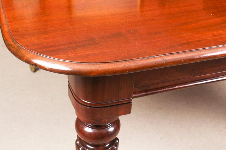 Antique Flame Mahogany Extending Dining Table 19th Century and 10 Chairs For Sale 7