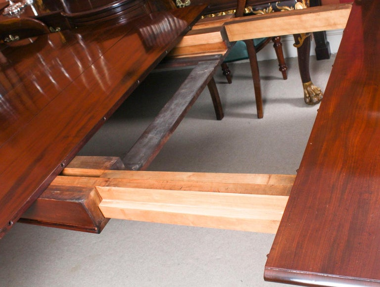 Antique Flame Mahogany Extending Dining Table 19th Century and 10 Chairs For Sale 10