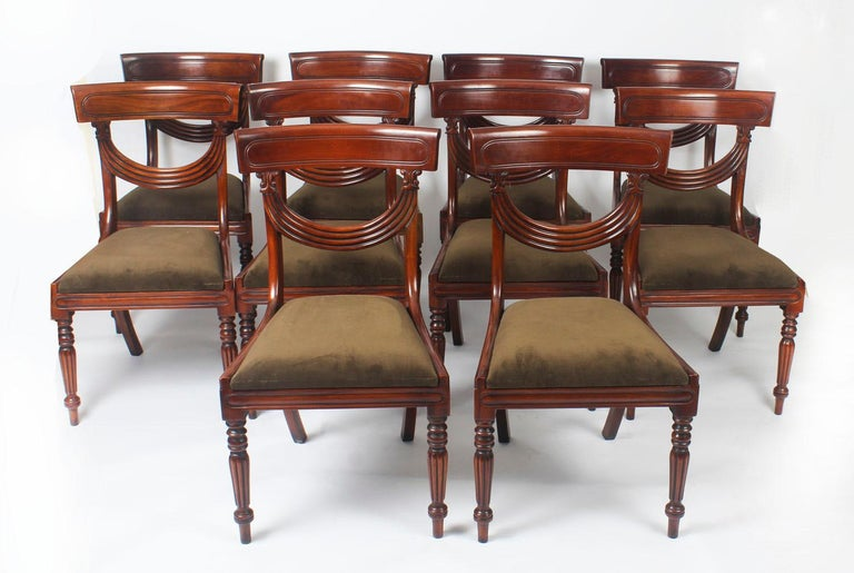 Antique Flame Mahogany Extending Dining Table 19th Century and 10 Chairs For Sale 11