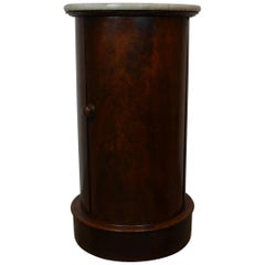 Antique Flame Mahogany Marble Top Nightstand