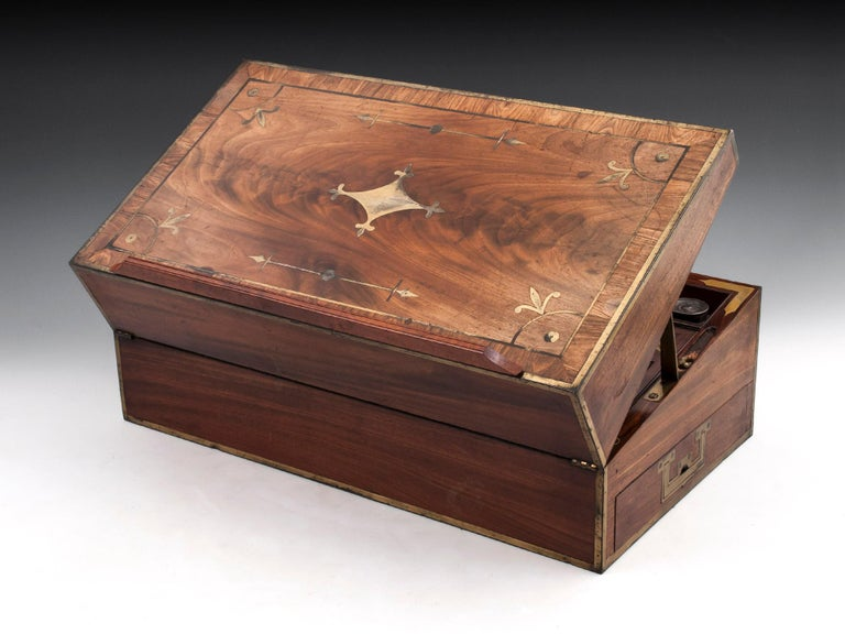 Antique Mahogany Writing Box has secret compartments Early 19th Century  For Sale 5