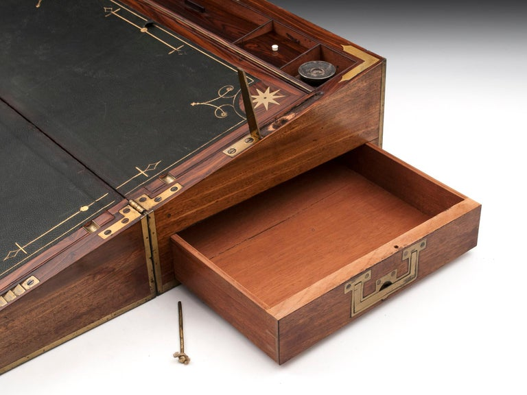 Antique Mahogany Writing Box has secret compartments Early 19th Century  For Sale 9