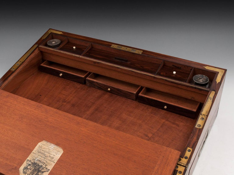 Antique Mahogany Writing Box has secret compartments Early 19th Century  For Sale 11