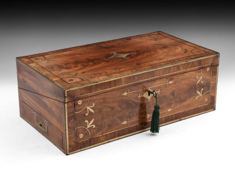 Antique Mahogany Writing Box has secret compartments Early 19th Century  For Sale 12