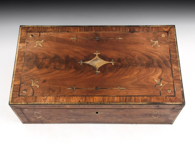 George IV Antique Mahogany Writing Box has secret compartments Early 19th Century  For Sale