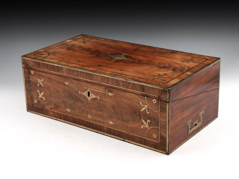 British Antique Mahogany Writing Box has secret compartments Early 19th Century  For Sale