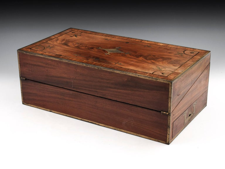 Antique Mahogany Writing Box has secret compartments Early 19th Century  In Good Condition For Sale In Northampton, United Kingdom