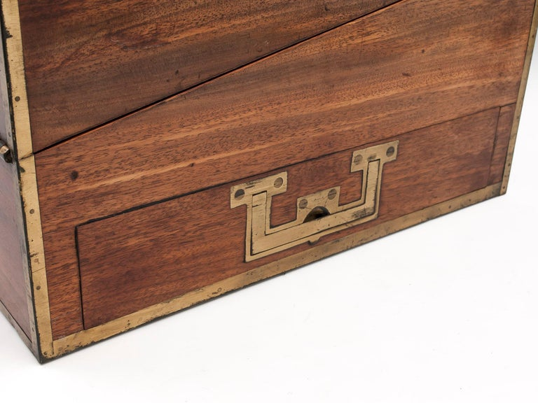 Brass Antique Mahogany Writing Box has secret compartments Early 19th Century  For Sale