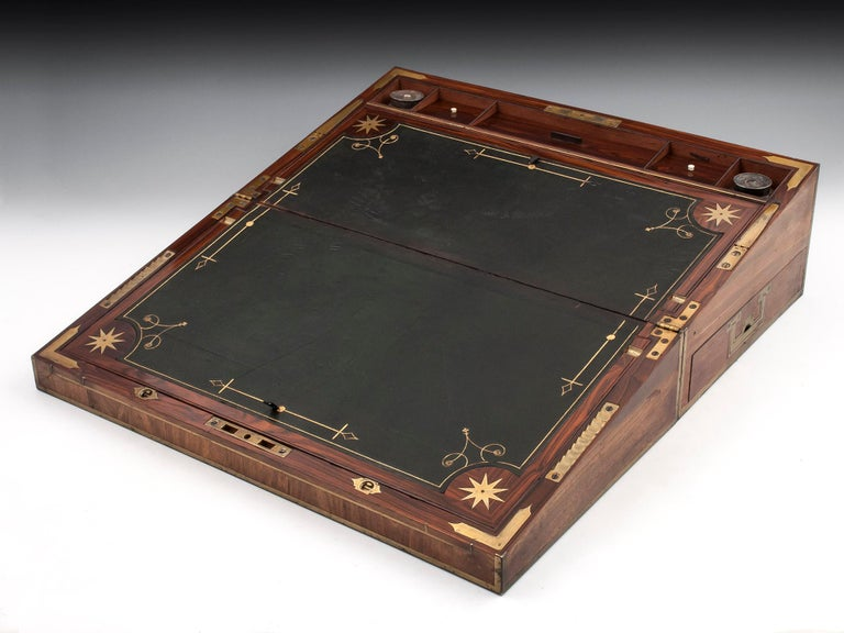 Antique Mahogany Writing Box has secret compartments Early 19th Century  For Sale 2