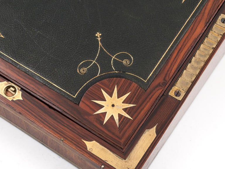 Antique Mahogany Writing Box has secret compartments Early 19th Century  For Sale 3