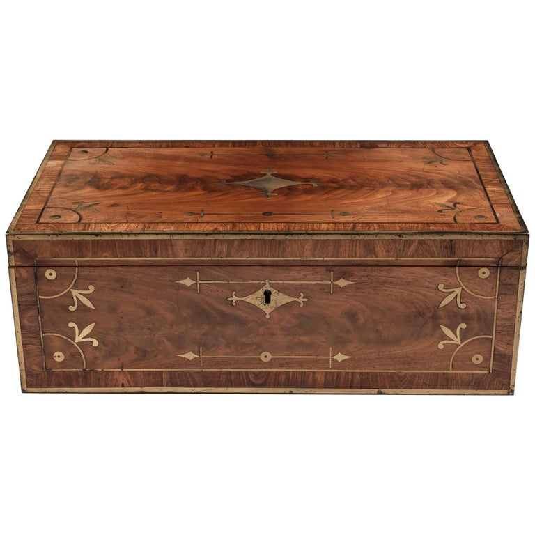 Antique Mahogany Writing Box has secret compartments Early 19th Century  For Sale