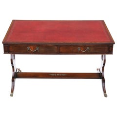 Antique Flame Mahogany Writing Table Desk 19th Century Revival, C1920