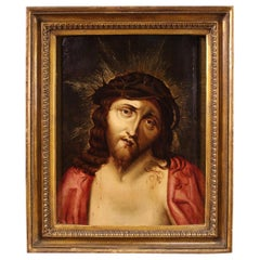 Antique Flemish religious painting Ecce Homo from the 18th Century