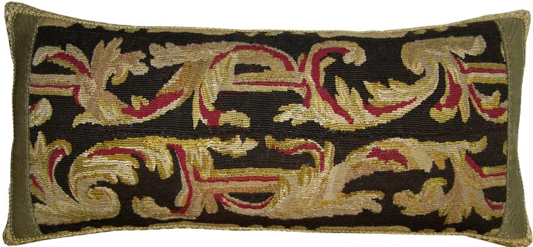Antique Flemish Tapestry Pillow, circa 19th Century 1714p In Good Condition For Sale In Los Angeles, CA
