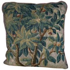 Antique Flemish Tapestry Pillowm circa 17th Centurym 1734p