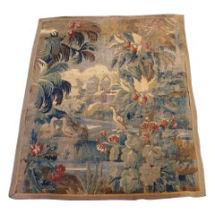 Antique Flemish Tapestry Wall Hanging Forest Design with Castle, Birds Wool