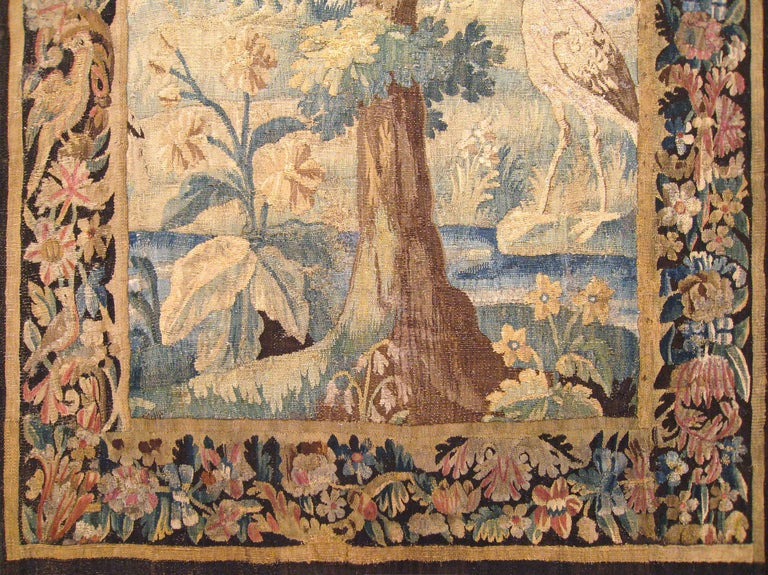 Belgian Flemish Verdure Landscape Tapestry Panel, with Large Tree and Foliate Border For Sale