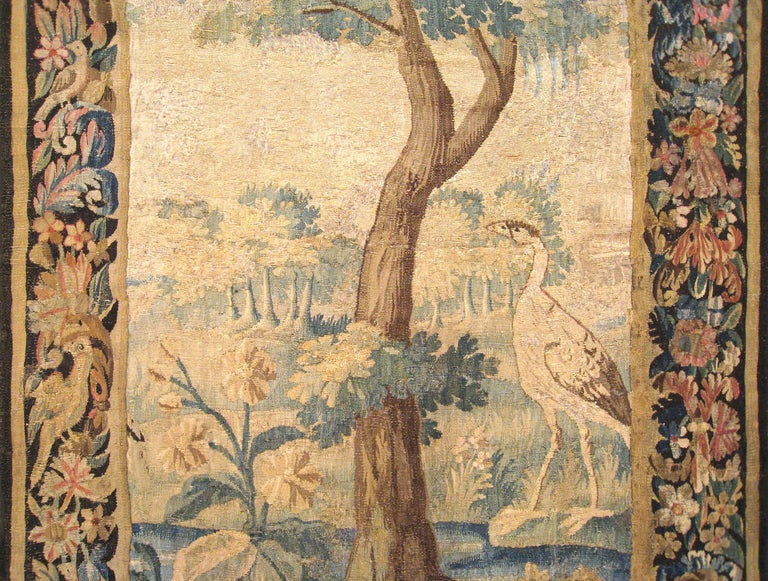 Hand-Woven Flemish Verdure Landscape Tapestry Panel, with Large Tree and Foliate Border For Sale