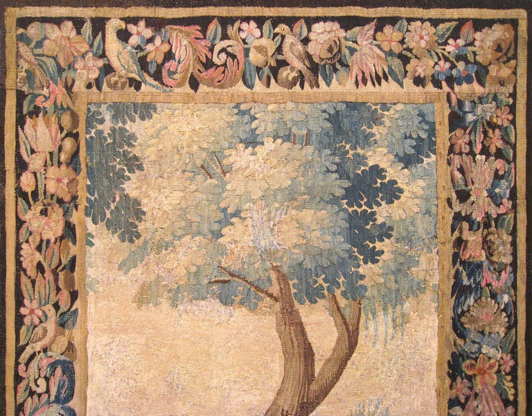 Flemish Verdure Landscape Tapestry Panel, with Large Tree and Foliate Border In Good Condition For Sale In New York, NY