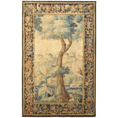 Antique Flemish Verdure Landscape Tapestry Panel, w/ Large Tree & Foliate Border
