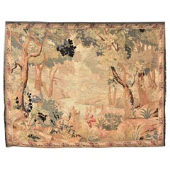Antique Flemish Verdure Styled Hand Knotted Tapestry of a Lush Forest & Lake