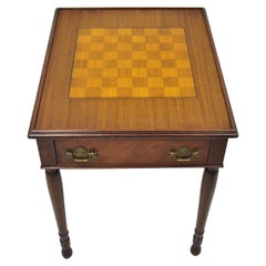 Antique Flip Top Brown Leather and Inlaid Checkerboard One Drawer Game Table