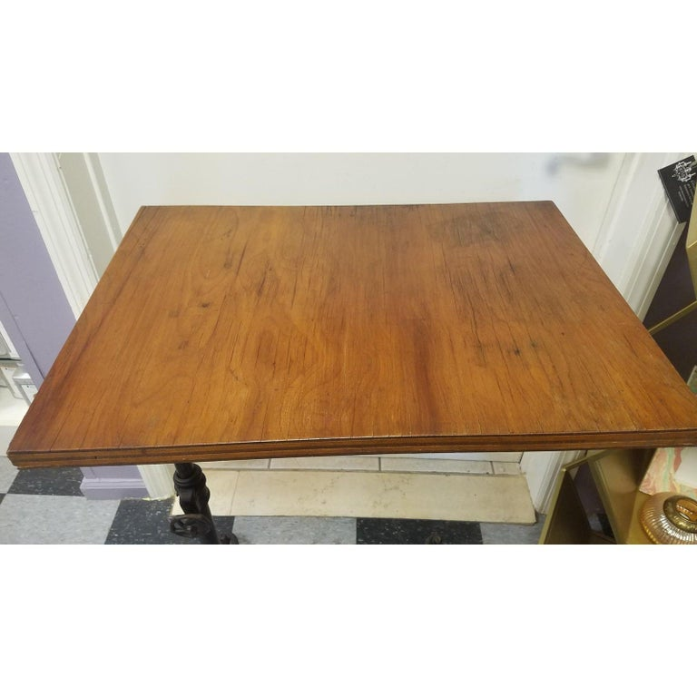 Antique Flip Top Table with Wrouth Iron Base For Sale 4