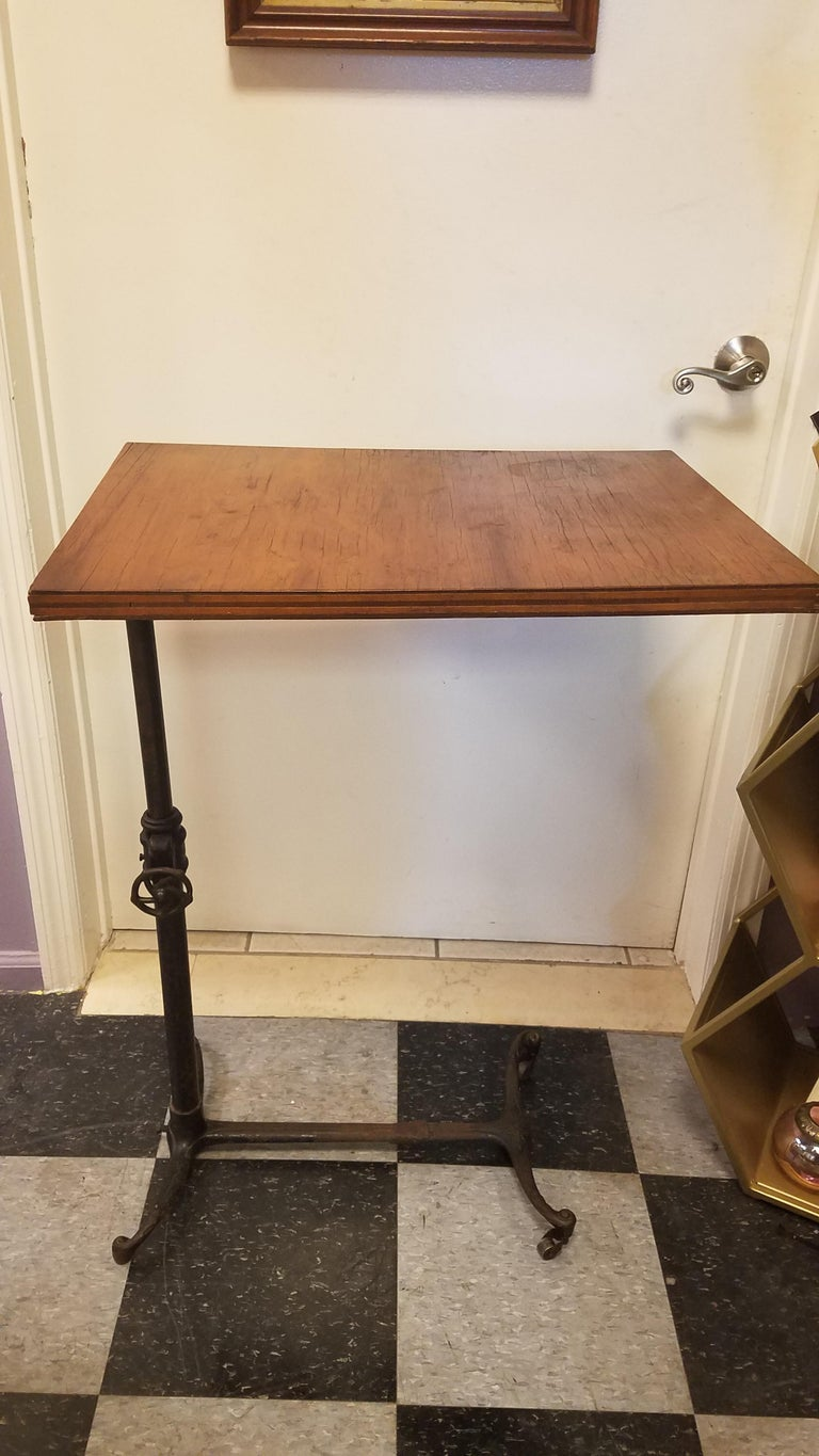 20th Century Antique Flip Top Table with Wrouth Iron Base For Sale