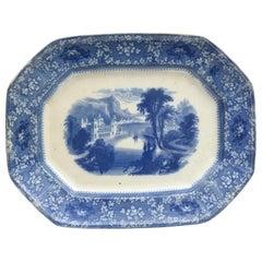 """Antique Flo Blue Platter, """"Milan"""" Large, circa 1860"""