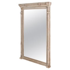 Antique Floor Mirror with Carved Wooden Frame