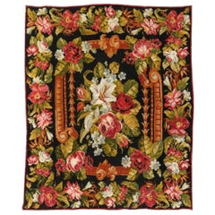 Antique Floral Aubusson Tapestry Style Bessarabian Kilim Flatweave Rug, c. 1900